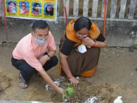 Plantation celebration at Durga Temple in Narayan Ashram by SMPPS Team and Vashudha Foundation.